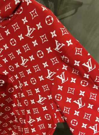 17SS ヴィトン シュプリーム コピー louis vuitton /supreme box logo hooded sweatshirt パーカー レッド
