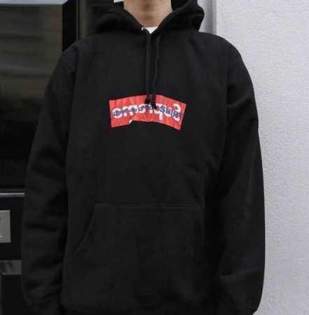 17SS シュプリーム コムデギャルソン supreme x comme des garcons shirt box logo hooded sweatshirt スウェットパーカー ブラック