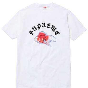 シュプリーム supreme x sasquatchfabrix.サスクワァッチファブリックス 16ss goldfish tee 半袖tシャツ ブラック ホワイト