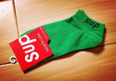 ソフトな生地シュプリーム靴下 偽物ロゴ有りリブsupremeオンラインソックスグリーン多色可選