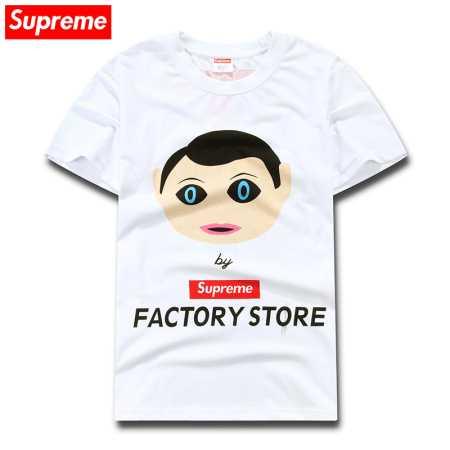 柔らかい コットン 2018年 春夏 シュプリーム 半袖 男女兼用 白 黒 2色 supreme factory store プリントtシャツ.