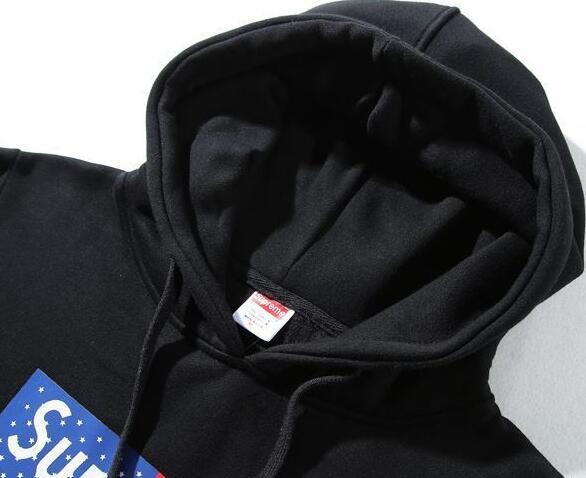 SUPREME boxlogo flag シュプリーム 男女兼用 ボックスロゴ フーデッド ブラック、ブルーパーカー 2色.