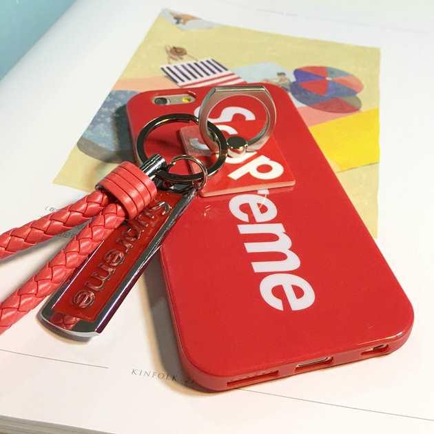 Supreme新品!シュプリーム スマホケース ブランド コピー ブラック 赤色iphone6plus ケース カバー お洒落 ストラップ付き