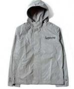 17AW 秋冬 保温性がある SUPREME フード付き ナイロン ジップアップ グレー メンズ シュプリーム ジャケット.