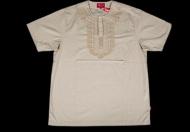 2015ss 無地 SUPREME Kurta Shirt コータシャツ シュプリーム tシャツ サンド 半袖 ブラック ベージュ コットン 刺繍
