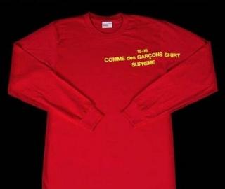 15AW シュプリーム コムデギャルソン Supreme×COMME des GARCONS SHIRT L/S Tee レッド ロングスリーブTシャツ 長袖