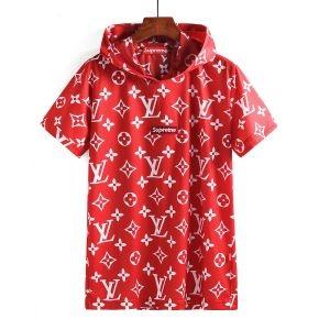 高品質 Louis Vuitton X SUPREME BOX LOGO TEE 半袖Tシャツ モノグラム柄 フード 刺繍ロゴ 2色可選