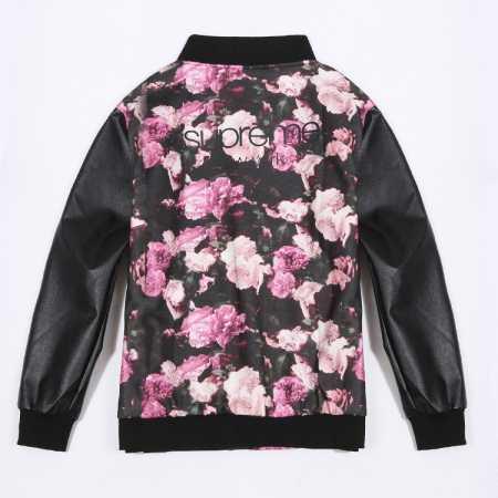 品質保証低価 supreme 花柄 レザースリーブ シュプリーム 長袖 コピー ブラック メンズアンダーカバー コーチジャケット.