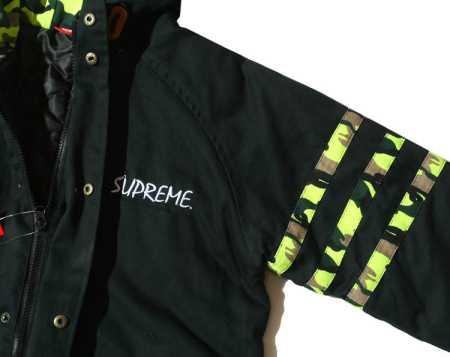 ボタン開閉式 supreme ブラック ダークブルー 2色 フード付き迷彩 シュプリームメンズ マウンテンパーカー.