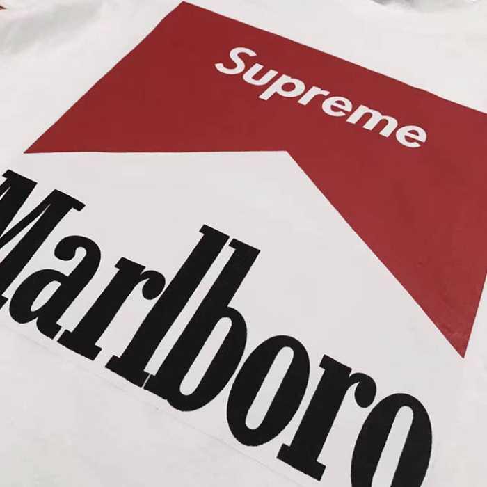 【夏季セール半袖】Supreme シュプリーム tシャツ 偽物通販お洒落 最注目 半袖 supreme x marlboro コットン ホワイト ブラック グレー
