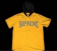 SUPREME シュプリーム 16SS Hooded Baseball Top  半袖シャツ モフードベースボールトップ プリントロゴ コットン フード