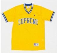 2015ss新品 シュプリーム ×  チャンピオン Tシャツ SUPREME Champion Shooting Jersey ジャージ  半袖 イエロー 人気新作
