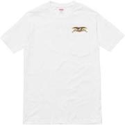 ステキ!!SUPREME ANTI HEROコラボ半袖TシャツシュプリームボックスロゴTシャツ偽物プリントTシャツホワイト