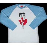 SUPREME Betty Boopc Raglan スーパー コピー シュプリーム 長袖 tシャツ ブルー ロングスリーブ コットン生地.
