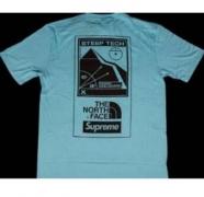 18SS SUPREME シュプリーム ×THE NORTH FACE Steep Tech T-Shirt 半袖 Tシャツ ライトブルー コットン.