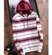 SUPREME シュプリーム Striped Hooded Sweatshirt クルーネックパーカー 男女兼用 レッド*ホワイト コットン.