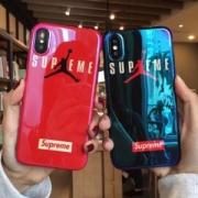 シュプリームエアジョーダンコラボ男女兼用iPhoneケースおしゃれブランドロゴ付きiPhoneケース2色可選択